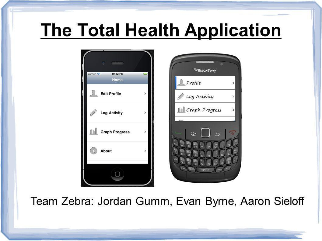 The Total Health Application Team Zebra: Jordan Gumm, Evan Byrne, Aaron Sieloff