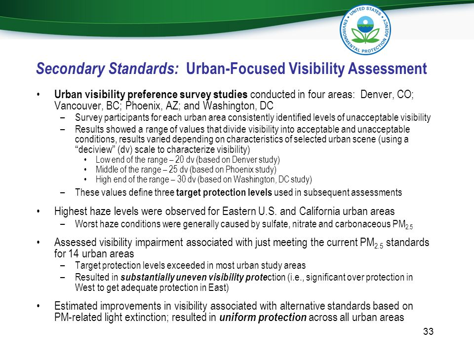 Secondary Standards: Urban-Focused Visibility Assessment Urban visibility preference survey studies conducted in four areas: Denver, CO; Vancouver, BC
