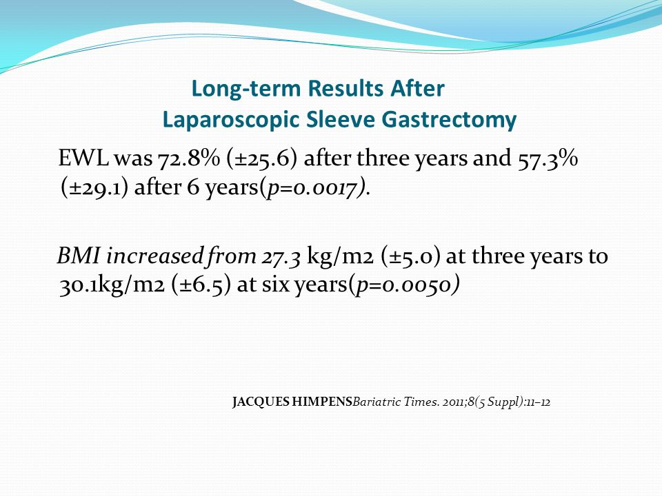 Long-term Results After Laparoscopic Sleeve Gastrectomy EWL was 72.8% (±25.6) after three years and 57.3% (±29.1) after 6 years(p=0.0017). BMI increas
