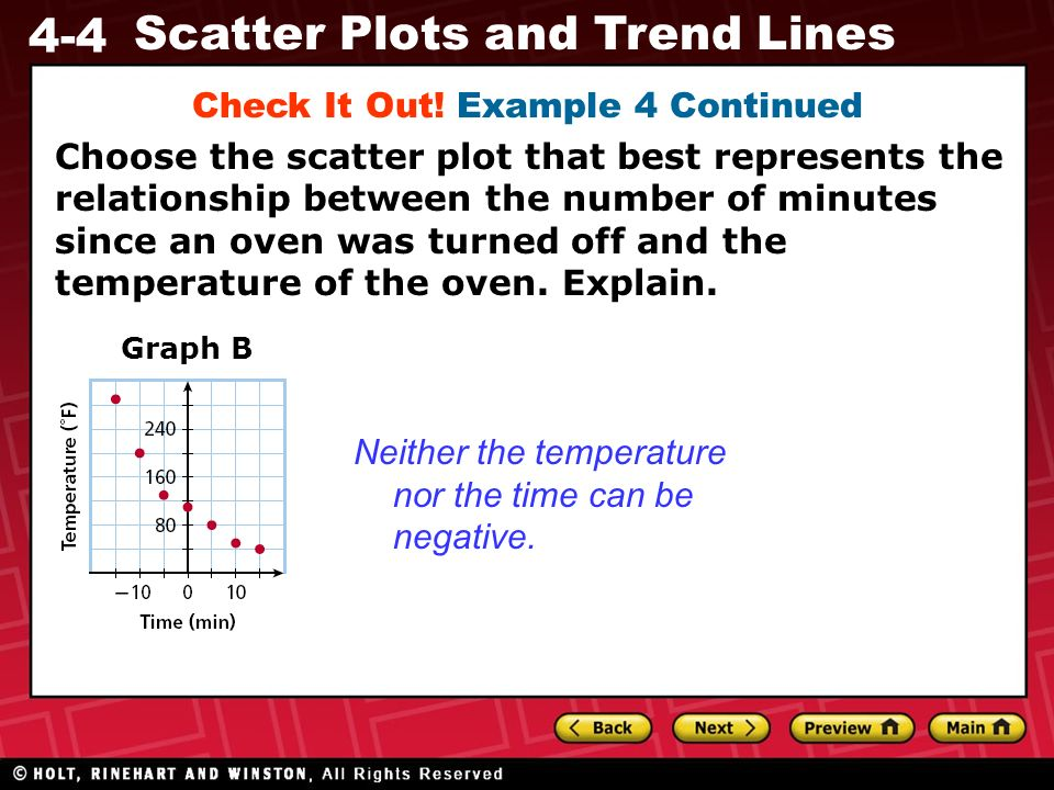 4-4 Scatter Plots and Trend Lines Graph B Neither the temperature nor the time can be negative. Check It Out! Example 4 Continued Choose the scatter p