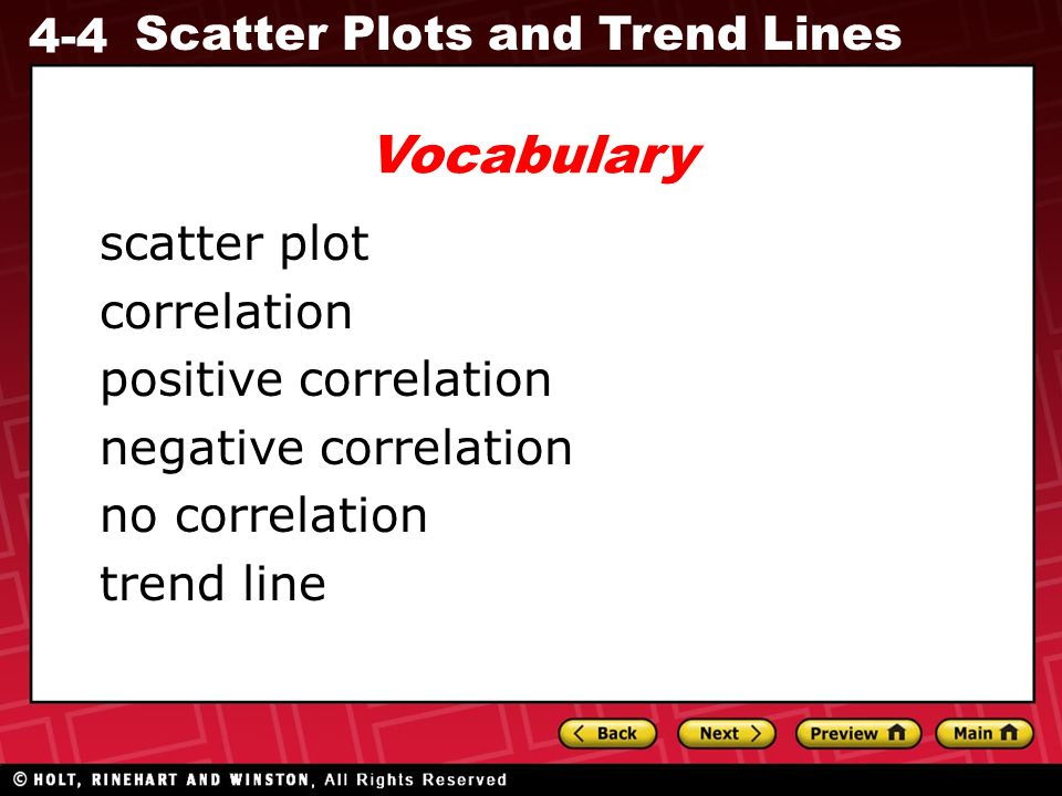 4-4 Scatter Plots and Trend Lines scatter plot correlation positive correlation negative correlation no correlation trend line Vocabulary