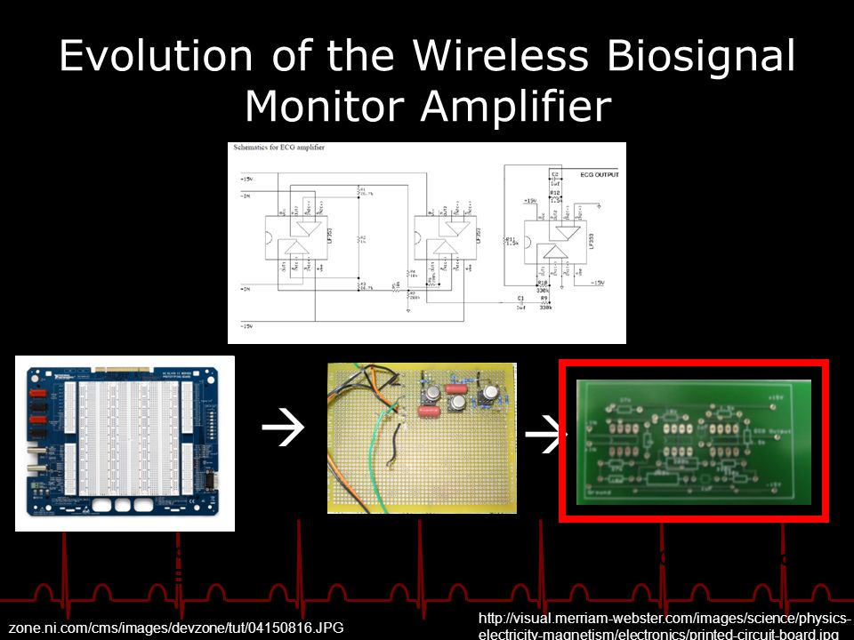 Evolution of the Wireless Biosignal Monitor Amplifier Breadboard (NI Elvis Board) Circuit board Printed Circuit Board http://visual.merriam-webster.co