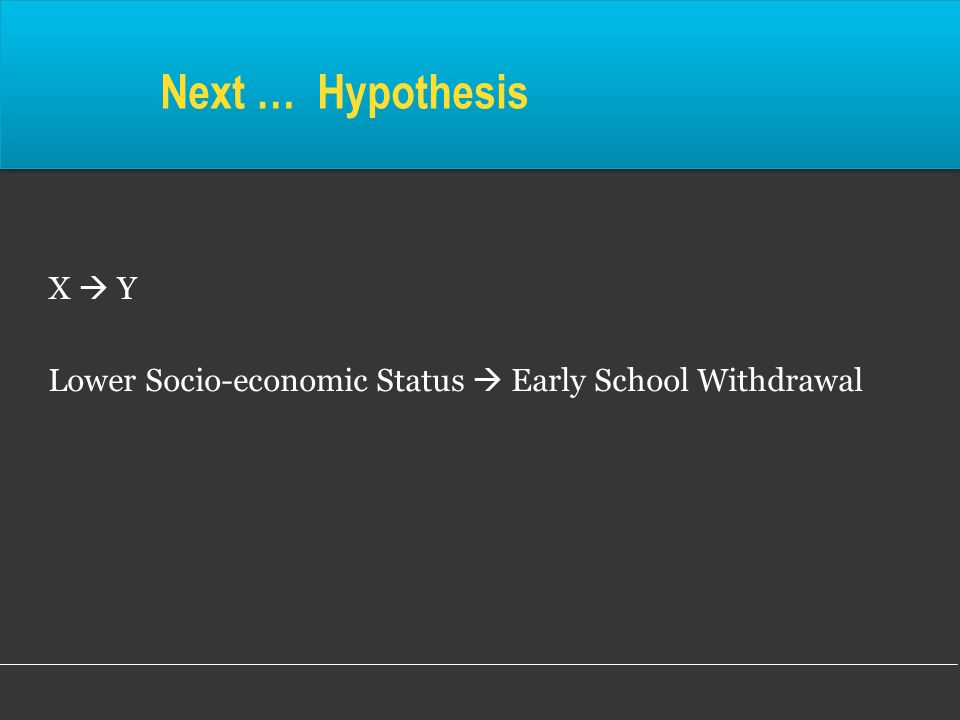 Next … Hypothesis X Y Lower Socio-economic Status Early School Withdrawal