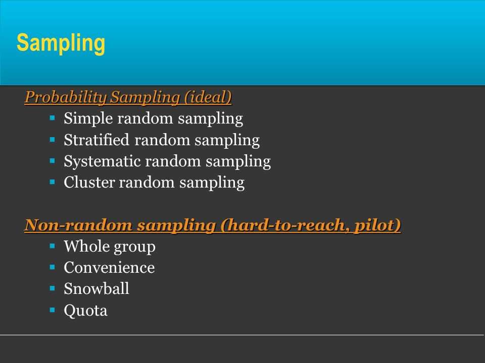 Sampling Probability Sampling (ideal) Simple random sampling Stratified random sampling Systematic random sampling Cluster random sampling Non-random