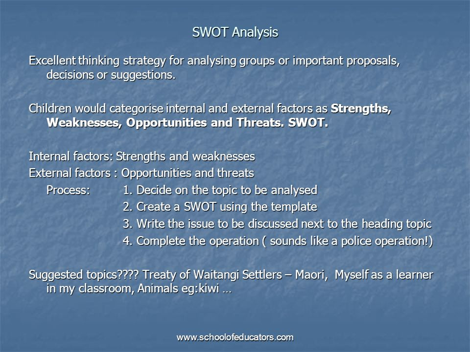 SWOT Analysis Excellent thinking strategy for analysing groups or important proposals, decisions or suggestions. Children would categorise internal an