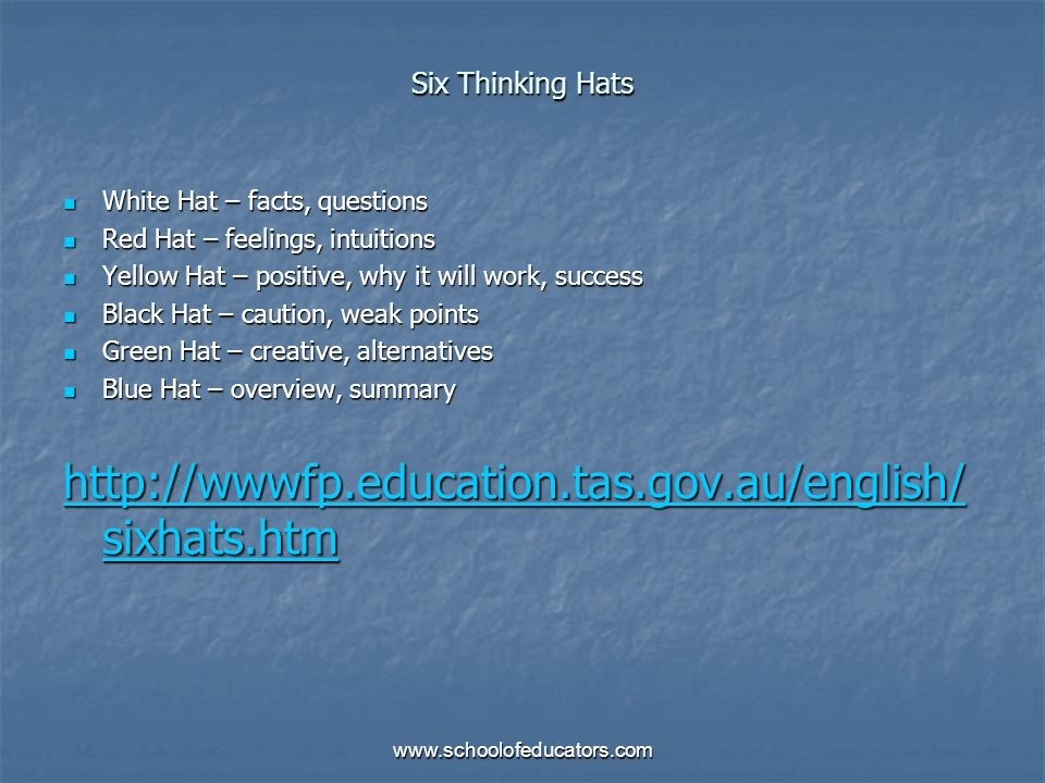 Six Thinking Hats White Hat – facts, questions White Hat – facts, questions Red Hat – feelings, intuitions Red Hat – feelings, intuitions Yellow Hat –