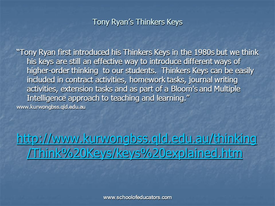 Tony Ryans Thinkers Keys Tony Ryan first introduced his Thinkers Keys in the 1980s but we think his keys are still an effective way to introduce diffe