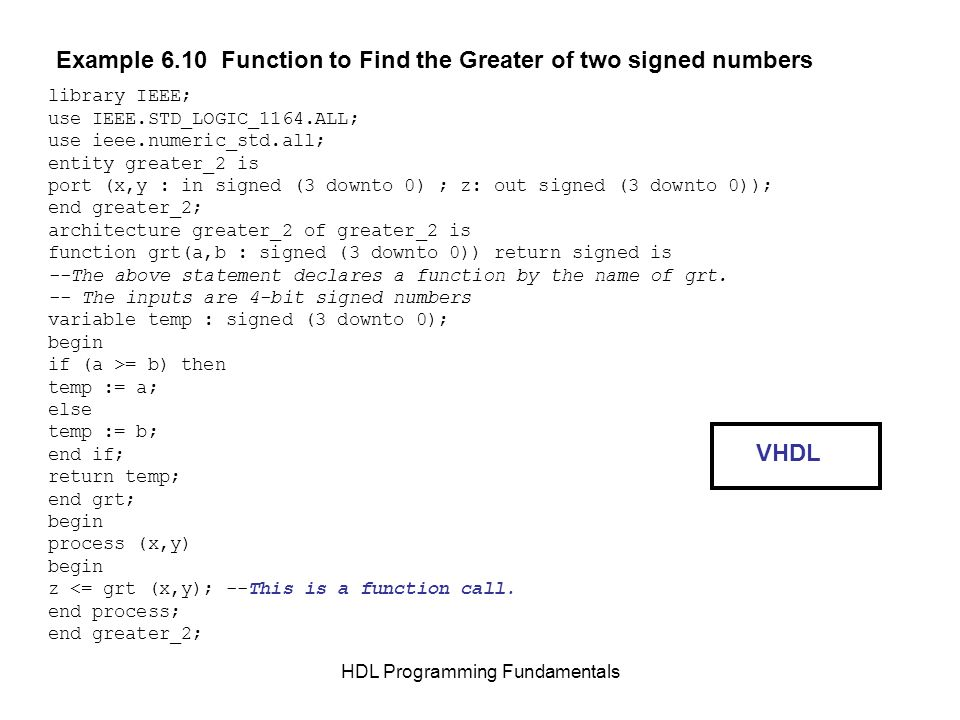 HDL Programming Fundamentals Example 6.10 Function to Find the Greater of two signed numbers library IEEE; use IEEE.STD_LOGIC_1164.ALL; use ieee.numer