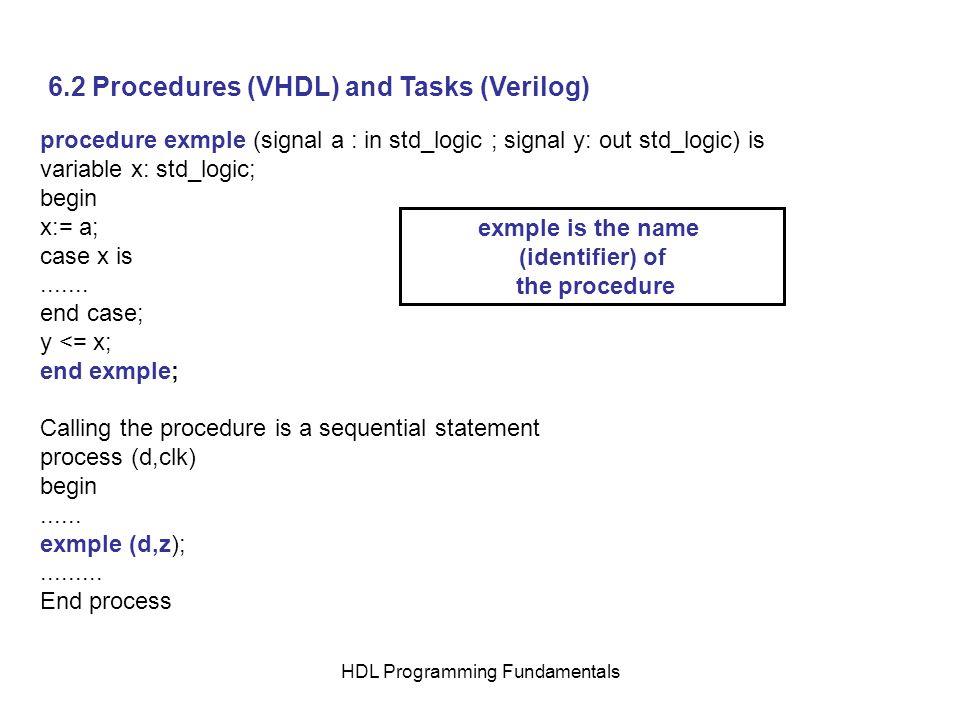 HDL Programming Fundamentals 6.2 Procedures (VHDL) and Tasks (Verilog) procedure exmple (signal a : in std_logic ; signal y: out std_logic) is variabl
