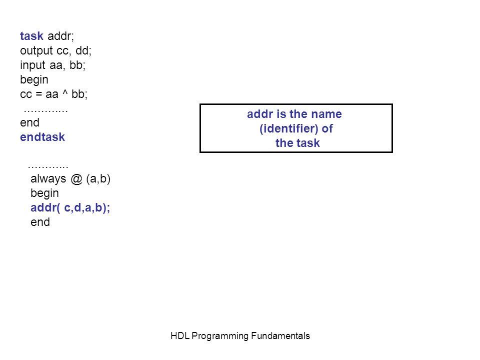 HDL Programming Fundamentals task addr; output cc, dd; input aa, bb; begin cc = aa ^ bb;............. end endtask............ always @ (a,b) begin add