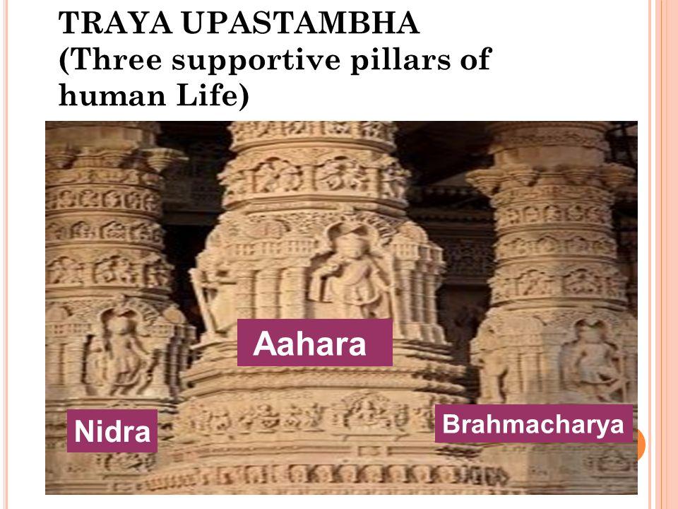 TRAYA UPASTAMBHA (Three supportive pillars of human Life) Aahara Nidra Brahmacharya