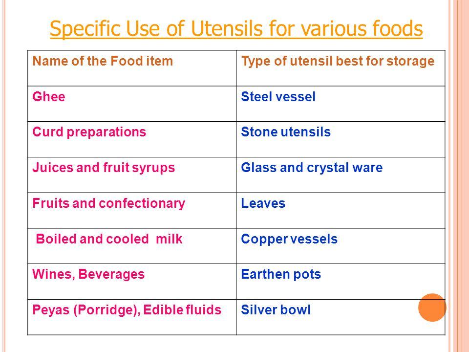 Specific Use of Utensils for various foods Name of the Food itemType of utensil best for storage GheeSteel vessel Curd preparationsStone utensils Juic