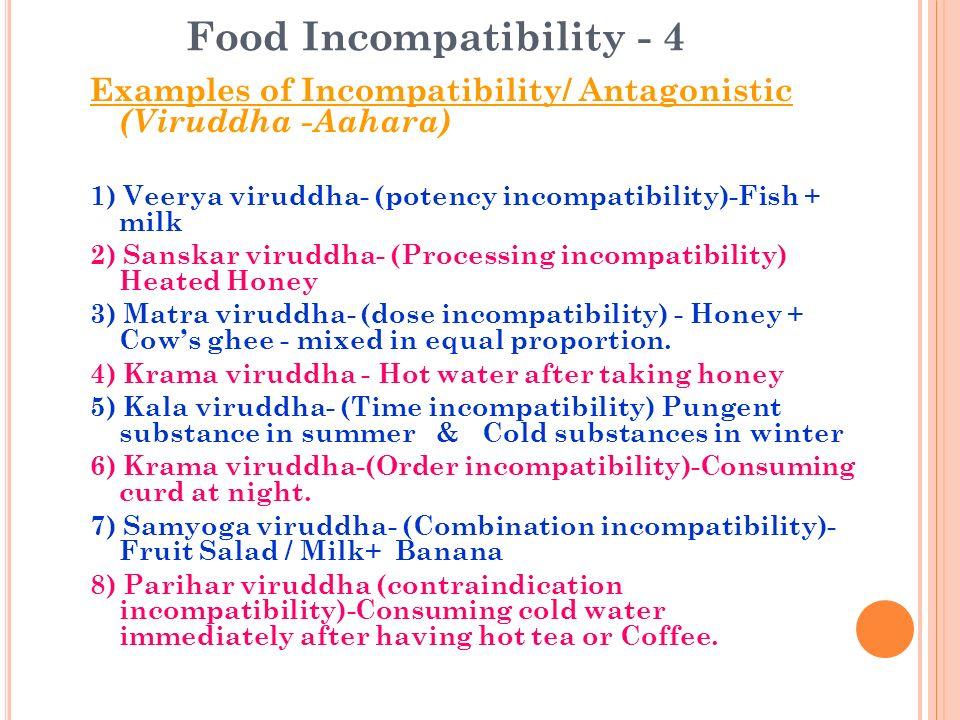 Food Incompatibility - 4 Examples of Incompatibility/ Antagonistic (Viruddha -Aahara) 1) Veerya viruddha- (potency incompatibility)-Fish + milk 2) San