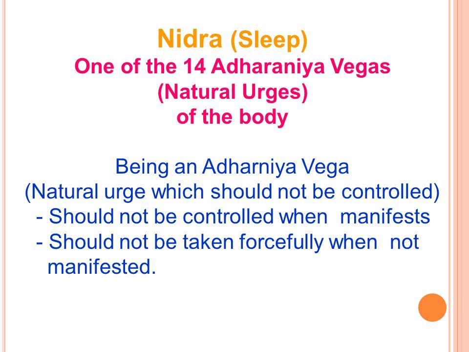 Nidra (Sleep) One of the 14 Adharaniya Vegas (Natural Urges) of the body Being an Adharniya Vega (Natural urge which should not be controlled) - Shoul