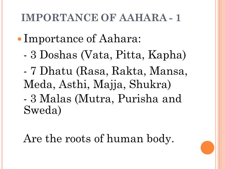 IMPORTANCE OF AAHARA - 1 Importance of Aahara: - 3 Doshas (Vata, Pitta, Kapha) - 7 Dhatu (Rasa, Rakta, Mansa, Meda, Asthi, Majja, Shukra) - 3 Malas (M