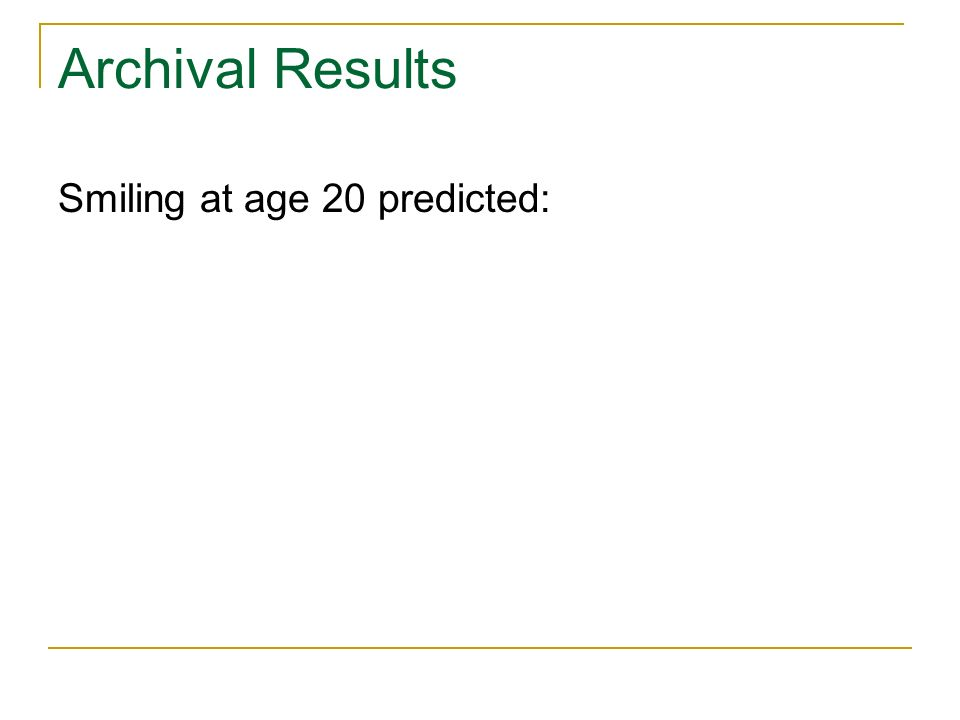 Archival Results Smiling at age 20 predicted: