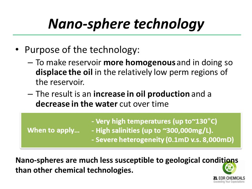 Nano-sphere technology Purpose of the technology: – To make reservoir more homogenous and in doing so displace the oil in the relatively low perm regi