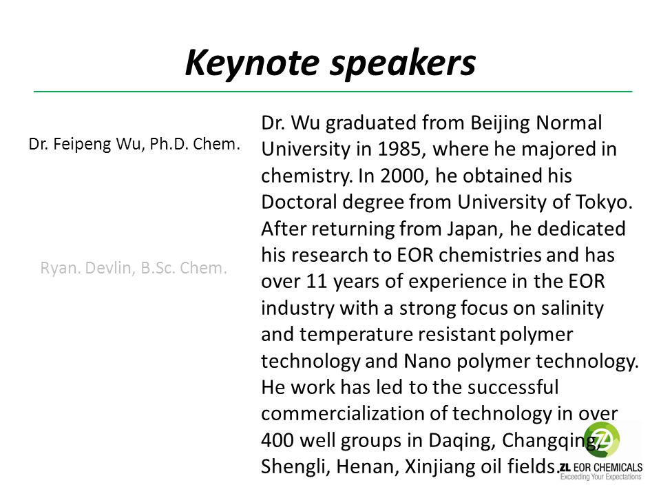 Keynote speakers Ryan has worked in the specialty chemical and engineering community for 16 years, specializing in polymer chemistry and technical business development.