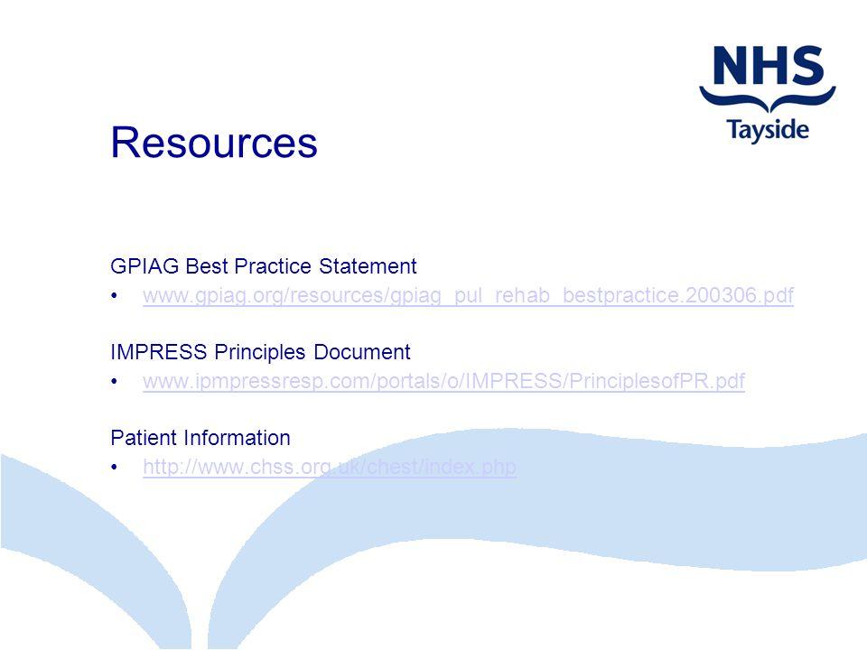Resources GPIAG Best Practice Statement www.gpiag.org/resources/gpiag_pul_rehab_bestpractice.200306.pdf IMPRESS Principles Document www.ipmpressresp.c