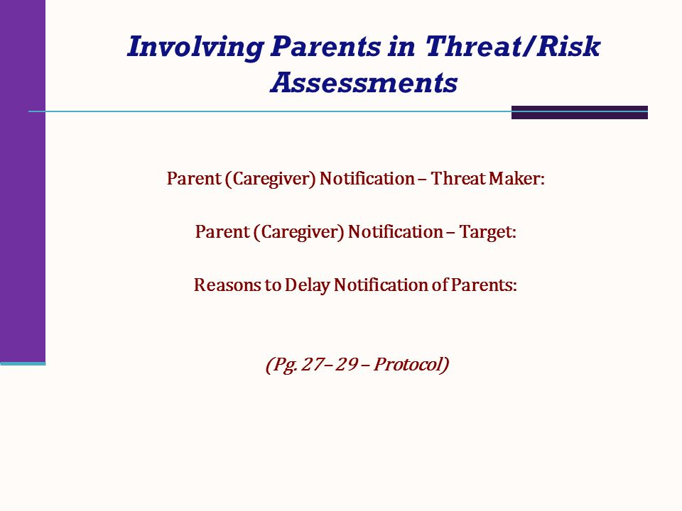 Involving Parents in Threat/Risk Assessments Parent (Caregiver) Notification – Threat Maker: Parent (Caregiver) Notification – Target: Reasons to Dela