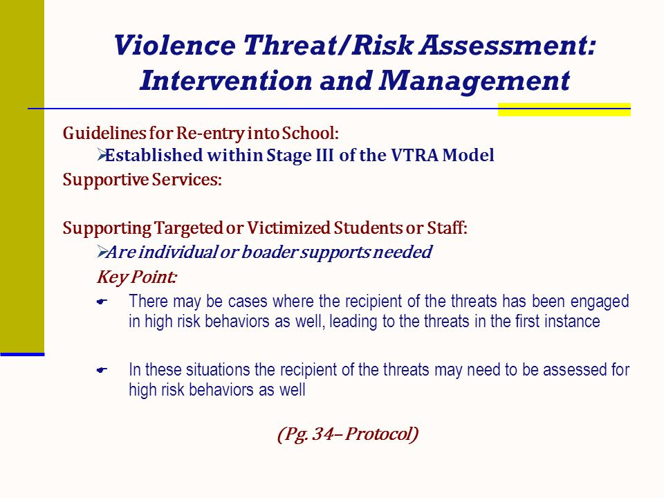 Violence Threat/Risk Assessment: Intervention and Management Guidelines for Re-entry into School: Established within Stage III of the VTRA Model Suppo