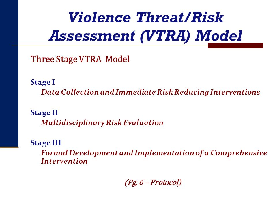 Violence Threat/Risk Assessment (VTRA) Model Three Stage VTRA Model Stage I Data Collection and Immediate Risk Reducing Interventions Stage II Multidi