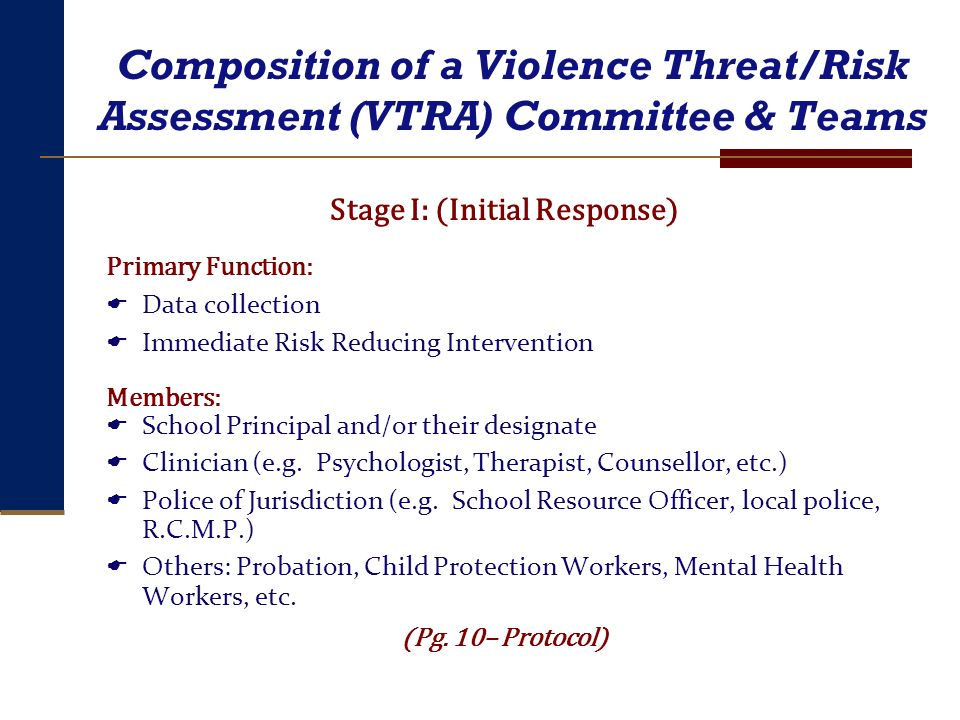 Composition of a Violence Threat/Risk Assessment (VTRA) Committee & Teams Stage I: (Initial Response) Primary Function: Data collection Immediate Risk