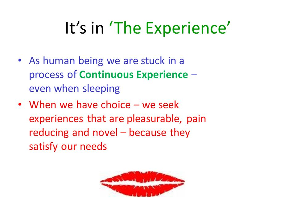 Its in The Experience As human being we are stuck in a process of Continuous Experience – even when sleeping When we have choice – we seek experiences