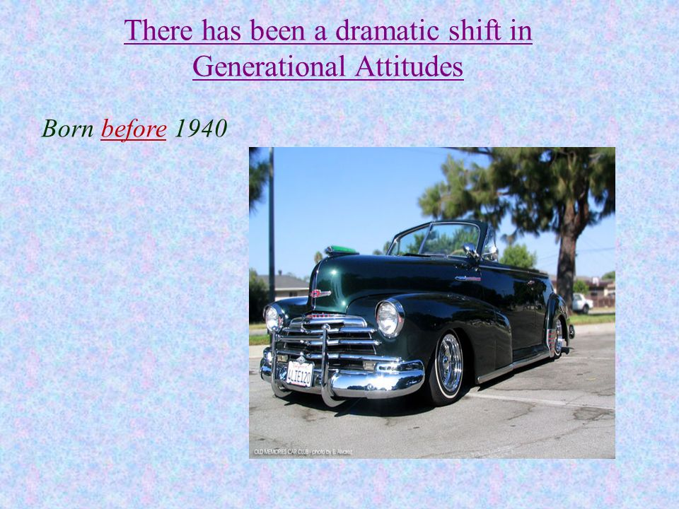 There has been a dramatic shift in Generational Attitudes Born before 1940