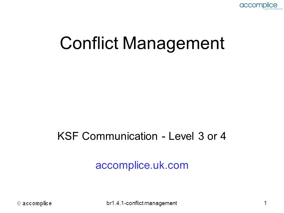 br1.4.1-conflict management22 Thomas Kilmann Conflict Mode Instrument [TKI] Increasingly assertive Increasingly cooperative Competing (win – lose) Collaboration (win – win) Avoiding (lose – lose) Accommodating (lose - win) Compromising (partial win- partial lose)