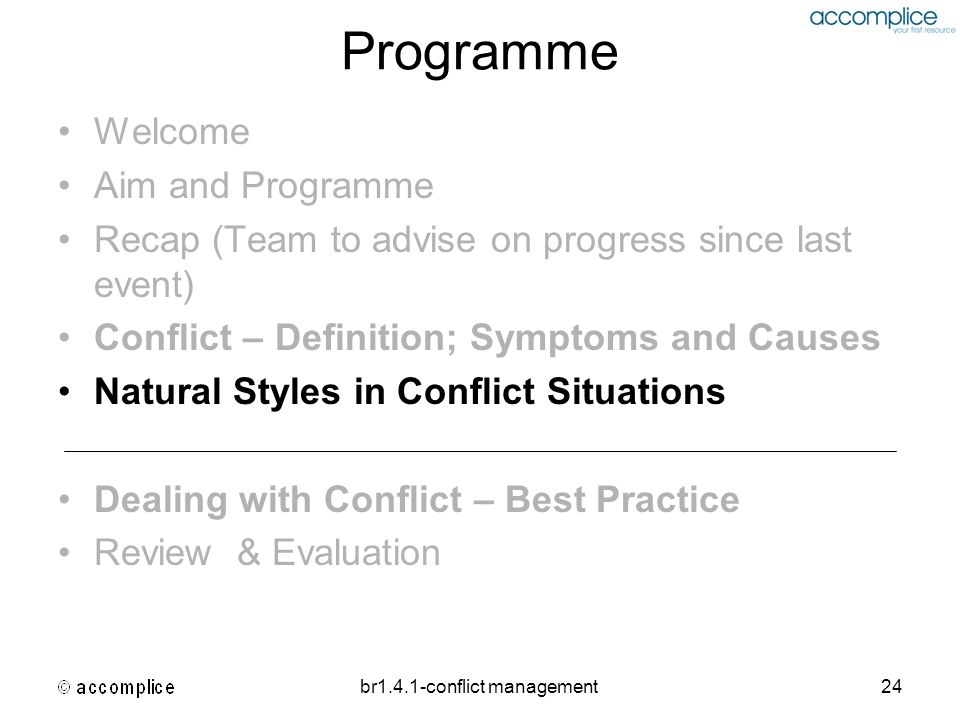br1.4.1-conflict management24 Programme Welcome Aim and Programme Recap (Team to advise on progress since last event) Conflict – Definition; Symptoms