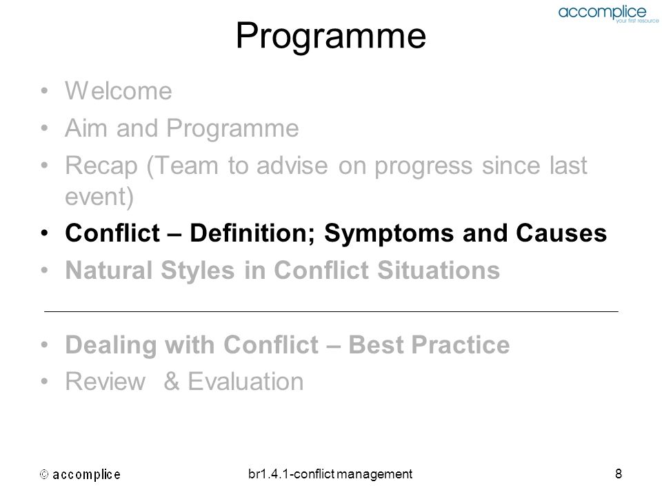 br1.4.1-conflict management8 Programme Welcome Aim and Programme Recap (Team to advise on progress since last event) Conflict – Definition; Symptoms a