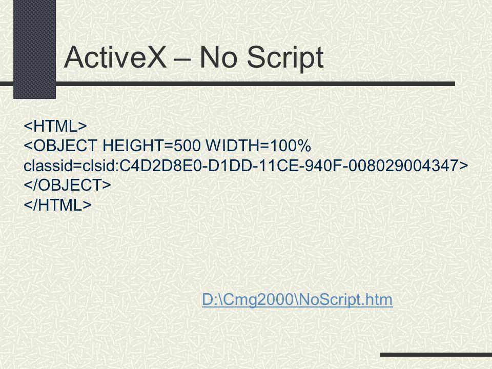ActiveX – No Script D:\Cmg2000\NoScript.htm