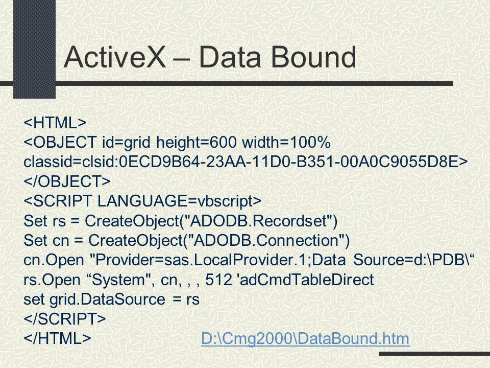 ActiveX – Data Bound Set rs = CreateObject(