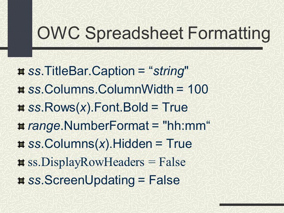 OWC Spreadsheet Formatting ss.TitleBar.Caption = string