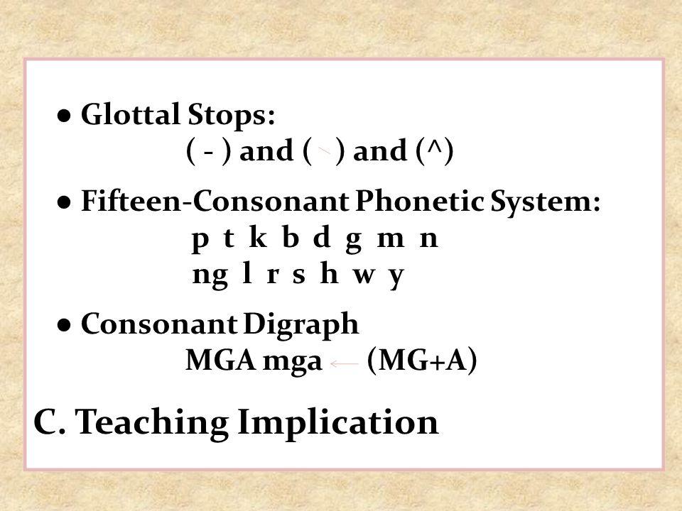 Glottal Stops: ( - ) and ( ) and (^) Fifteen-Consonant Phonetic System: p t k b d g m n ng l r s h w y Consonant Digraph MGA mga (MG+A) C. Teaching Im