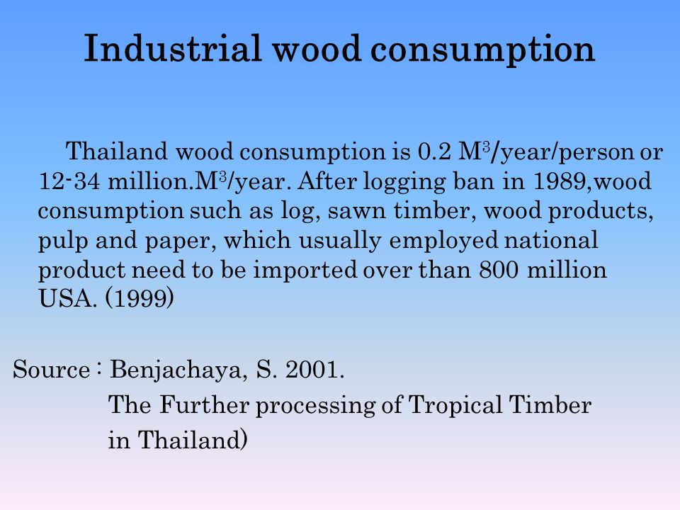 Industrial wood consumption Thailand wood consumption is 0.2 M 3 /year/person or 12-34 million.M 3 /year. After logging ban in 1989,wood consumption s