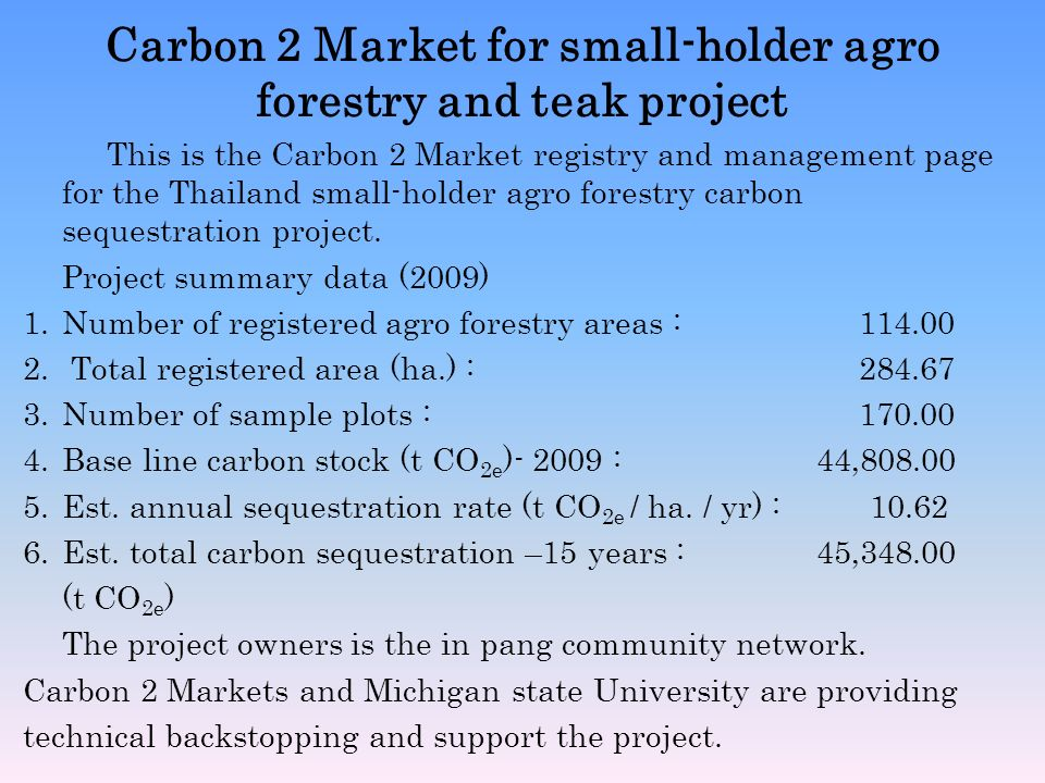 Carbon 2 Market for small-holder agro forestry and teak project This is the Carbon 2 Market registry and management page for the Thailand small-holder