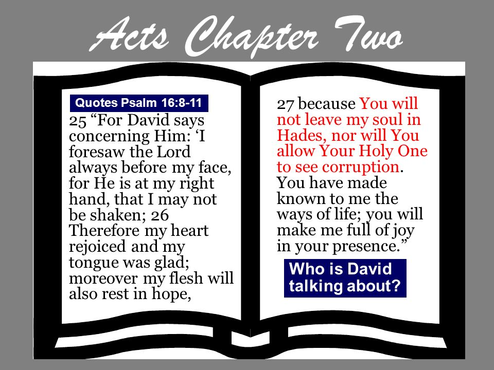Acts Chapter Two 25 For David says concerning Him: I foresaw the Lord always before my face, for He is at my right hand, that I may not be shaken; 26