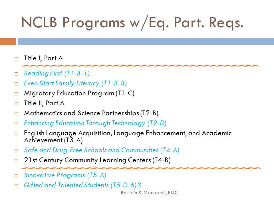 NCLB Programs w/Eq. Part. Reqs. Title I, Part A Reading First (T1-B-1) Even Start Family Literacy (T1-B-3) Migratory Education Program (T1-C) Title II