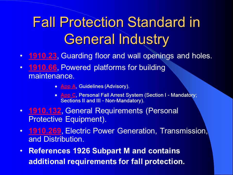 Fall Protection Standard in General Industry 1910.23, Guarding floor and wall openings and holes.1910.23 1910.66, Powered platforms for building maint