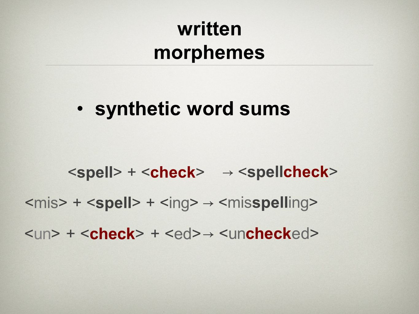 synthetic word sums written morphemes <mis> + <spell> + <ing> <un> + <check> + <ed> <spell> + <check>