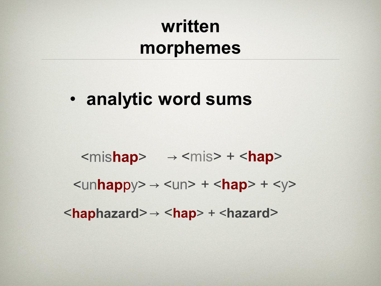 analytic word sums written morphemes + <unhappy> + + < haphazard > + < mishap >