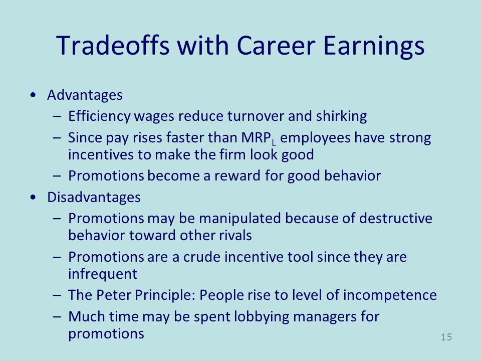 Tradeoffs with Career Earnings Advantages –Efficiency wages reduce turnover and shirking –Since pay rises faster than MRP L employees have strong ince