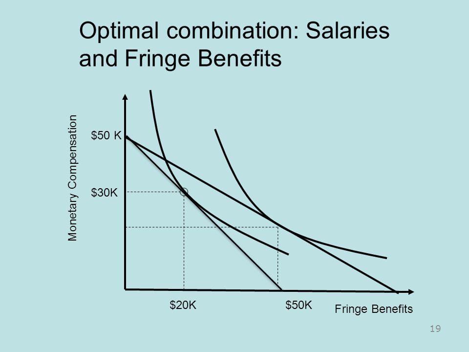 Optimal combination: Salaries and Fringe Benefits Fringe Benefits Monetary Compensation $50 K $20K $30K 19