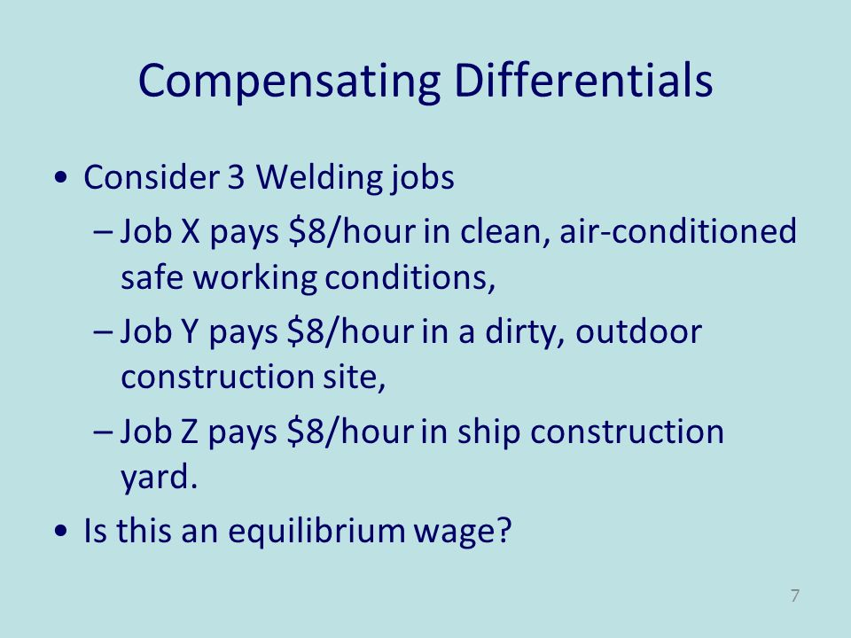 Compensating Differentials Consider 3 Welding jobs –Job X pays $8/hour in clean, air-conditioned safe working conditions, –Job Y pays $8/hour in a dir