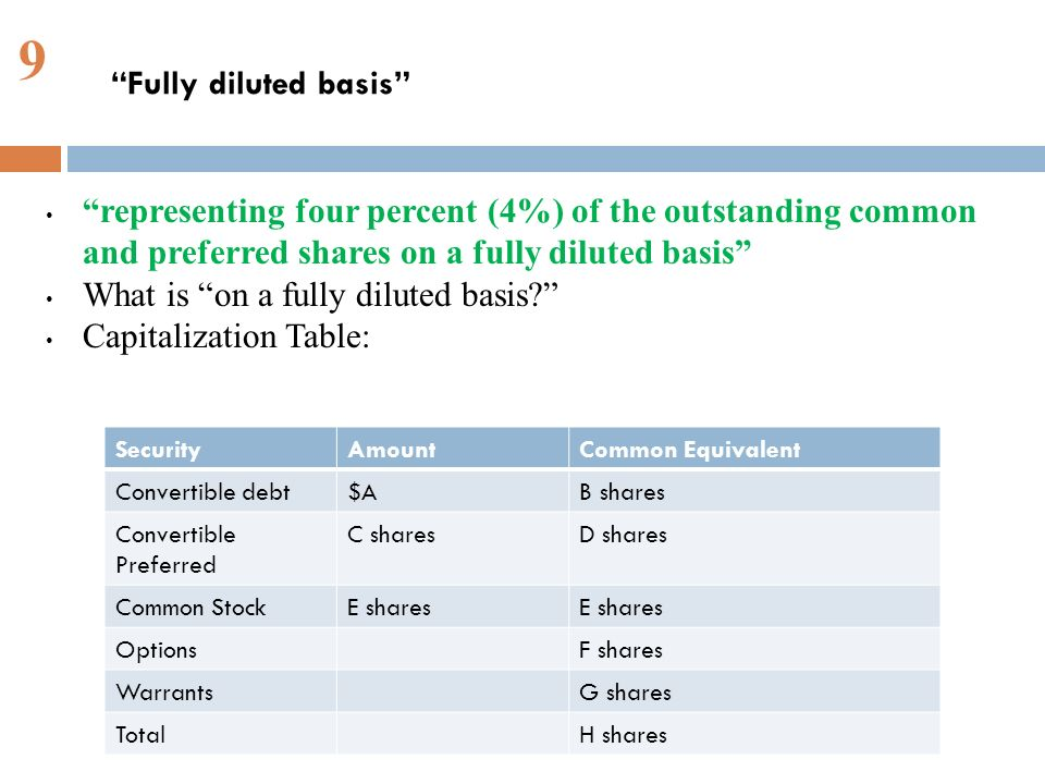 9 representing four percent (4%) of the outstanding common and preferred shares on a fully diluted basis What is on a fully diluted basis.