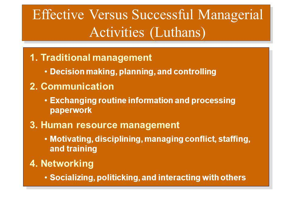 Effective Versus Successful Managerial Activities (Luthans) 1.Traditional management Decision making, planning, and controlling 2.Communication Exchan