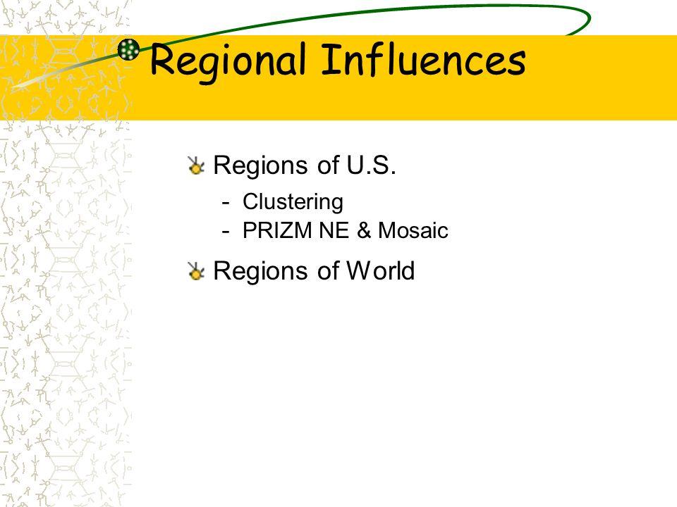 Regional Influences Regions of U.S. - Clustering - PRIZM NE & Mosaic Regions of World