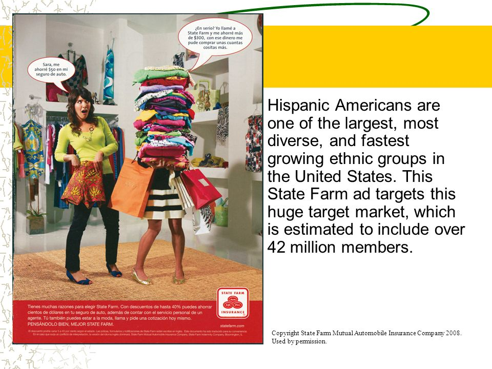Hispanic Americans are one of the largest, most diverse, and fastest growing ethnic groups in the United States. This State Farm ad targets this huge
